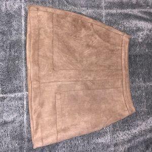 boohoo tan suede skirt